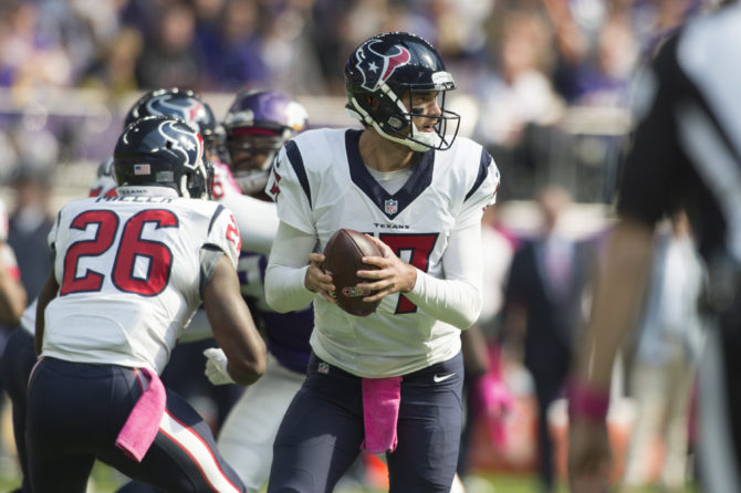 MINNEAPOLIS, MN - OCTOBER 9: Quarterback Brock Osweiler #17 of the Houston Texans drops back to pass during the first quarter of the game on October 9, 2016 at US Bank Stadium in Minneapolis, Minnesota. (Photo by Hannah Foslien/Getty Images)