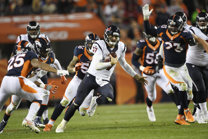 Brock Osweiler (17) of the Houston Texans scrambles against the Denver Broncos defense during the third quarter on Monday, October 24, 2016. The Denver Broncos hosted the Houston Texans. Joe Amon, The Denver Post